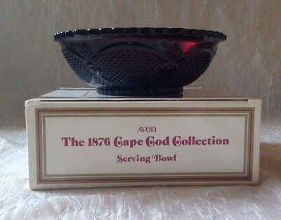 Vintage Avon 1876 Cape Cod Collection Ruby Glass Serving Bowl