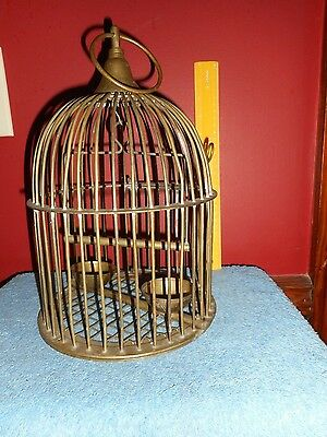 Vintage BRASS BIRDCAGE FEEDER MID CENTURY ART DECO DOMED CAGE BOWLS & SWING