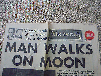 MELBOURNE JULY 21, 1969 'The Herald'  MAN WALKS ON MOON FULL NEWSPAPER 14 PAGES