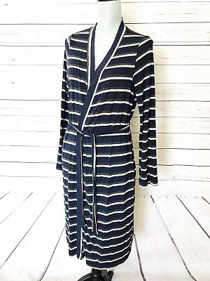 A PEA IN THE POD Long Sleeve MED Maternity Comfy Sleep Robe Blue Gray Stripe