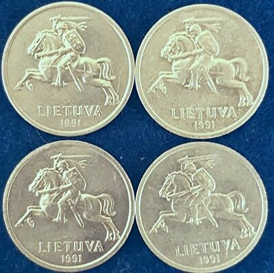 Uncirculated Lot Of Four 1991 Lithuania 1 Centas ID #30-3