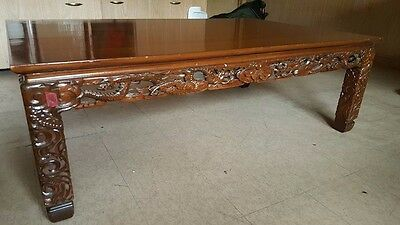 Rare Vintage Original Carved Dragons Rosewood Rectangular Low Table