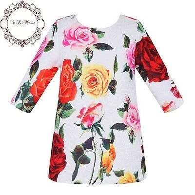 Girls Italian Designer Dress SIZE 4, 6 & 8 White & Pinks Floral REDUCED TO CLEAR