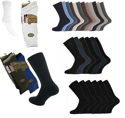 6 or 12 Men's  100% Cotton Luxury Plain Aler Gold  Ribbed Socks Black or Colours