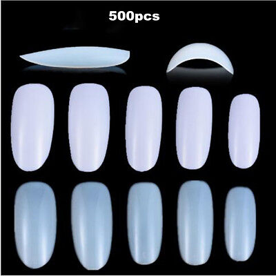 500pcs Nail Art Round End Fake Oval Full Cover Nail Art Tips French 10 Size