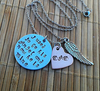 My angel Dad memorial necklace loss of father tribute angel wing remembrance