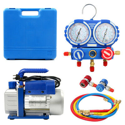 3.5 CFM 1/4HP Air Vacuum Pump HVAC + R134A Kit AC A/C Manifold Gauge Set AU
