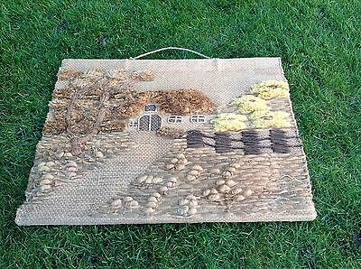 Antique Look Woven Tapestry Picture Wall Hanging Country Cottage Rustic Chic