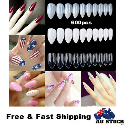 600pc Almond Full Cover Stiletto Pointy False Nail Tips Oval Claw Gel Round Head