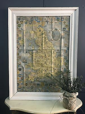 VINTAGE FRAMED HISTORICAL MAP OF ENGLAND UK WALES HERALDRY COUNTIES 105CM x 78CM