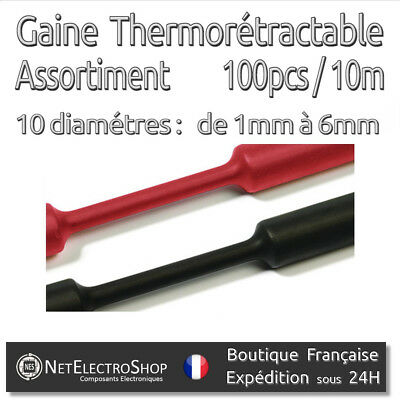 Gaine Thermorétractable 2:1 - Assortiment de 100pcs - 10m - Diam. 1mm à 6mm