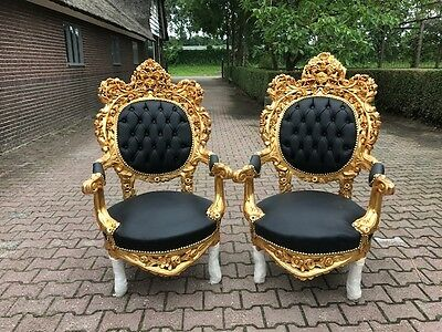 Antique Rococo Italian Set Of 2 Chairs From About 1920