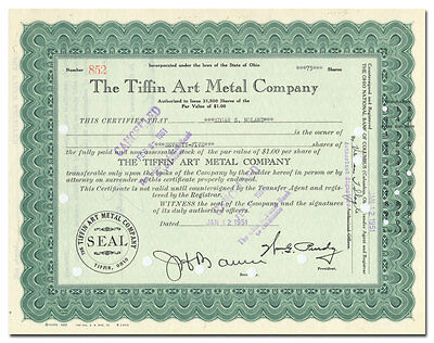Tiffin Art Metal Company Stock Certificate (Billboards)