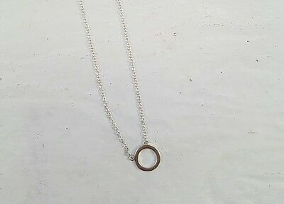 New Ladies Circle Pendant Necklace Sterling Silver