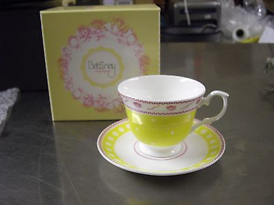Bettimay Vintage Happiness Range Fine Bone China (Yellow) Tea Cup And Saucer