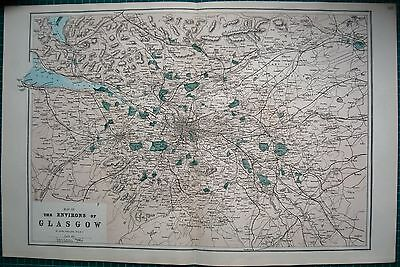 1884 Large Antique Map-Bacon -Weller-Environs Of Glasgow