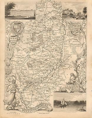 1850 Ca ANTIQUE COUNTY MAP-MOULE-NOTTINGHAMSHIRE, NEWARK, RETFORD, BAWTRY, MANSF