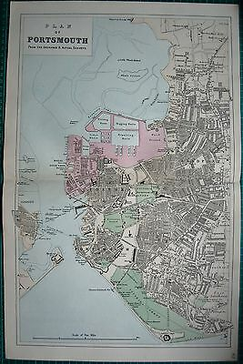 1884 Large Antique Town Plan-Bacon -Portsmouth