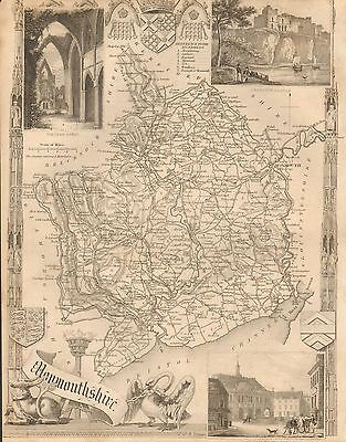 1850 Ca ANTIQUE COUNTY MAP-MOULE-MONMOUTHSHIRE, ABERGAVENNY, NEWPORT,