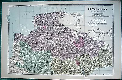 1884 Large Antique County Map-Bacon -Devonshire, North, Exeter,tiverton,barnstap
