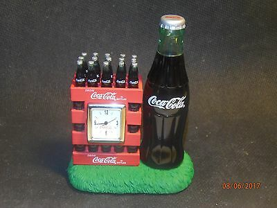 Coca Cola Clock Large Bottle Next To Stack Of Cases New Battery - No Box.