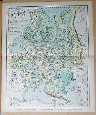 1883  Antique Map Russia In Europe, Inset Of Alps And Caucasus Mountains