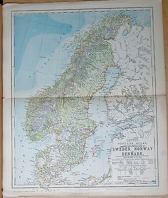 1883  Antique Map Sweden, Norway & Denmark