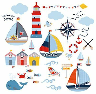 Room Decorate Sticker Wall Decal Sail Boat House Bath Bed Removable Nursery Boy