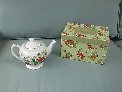 Vintage Queen's Virginia Strawberry Rosina English china teapot & butterfly