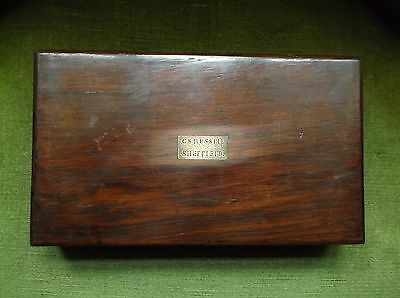 Fine Antique 19Th C Box Drawing Instruments Brass Plaque C. S. Russell Sheffield