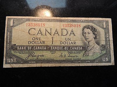 1954 Bank Of Canada $ 1 One Dollar Coyne Towers Devil's Face Changeover H/a