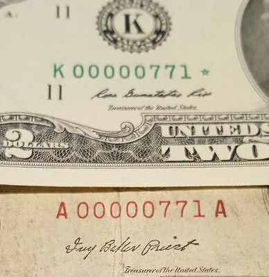 LOW Fancy matching $2 serial # 00000771 STAR 2009 and Red Seal non-star 1953