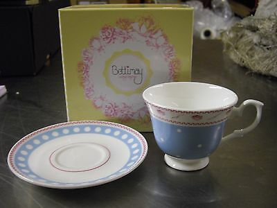 Bettimay Vintage Happiness Range 100% Fine Bone China (Blue) Tea Cup And Saucer