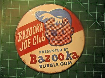Bazooka Joe Bubble Gum Tin Round Sign Original Advertising Candy Topps Card Club