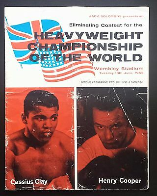 1963 MUHAMMAD ALI v HENRY COOPER on-site boxing program & ticket - Cassius Clay