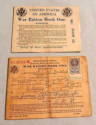 Lot Vintage War Ration Book one & two with some stamps  coupons Illinois