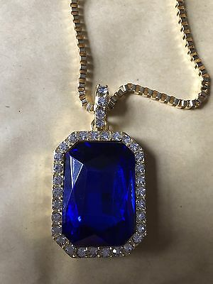 """Iced Mens Bling Faux Pendant, Blue Ruby 24"""" 30"""" Gold Plated Chain, Hip Hop, Rap"""