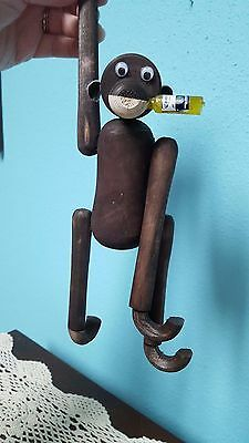 Vtg Wood Jointed Monkey Articulated Joints Bojesen Era Style Long Arm Hanging
