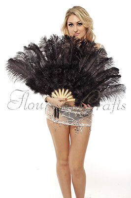 """A pair of black Marabou & Ostrich feathers fan 21""""x 39"""" primary Burlesque"""
