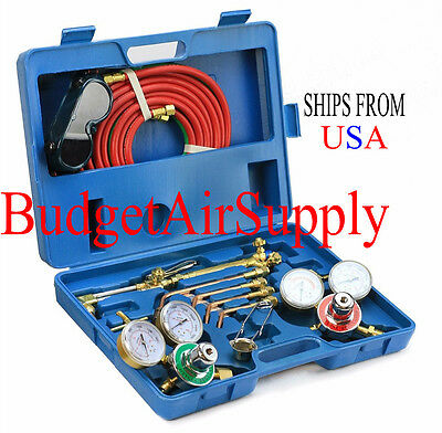Victor Type Gas Welding Torch Cutting Kit Oxygen Acetylene Regulators w Case