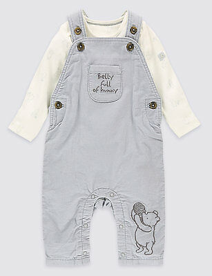 NEW with TAGS M&S Baby Boys Winnie The Pooh 2 Piece Dungarees Outfit 0-3 Months