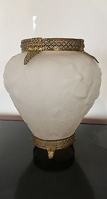 Large Consolidated Embossed Frosted Glass Vase With Brass Filigree  Mounts