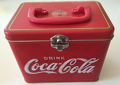 Coca Cola Red Tin Reproduction With Lid and Handle Container Coke Box Purse