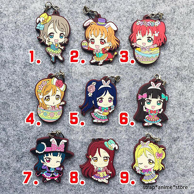 Love Live Anime LoveLive! Sunshine Aqours Rubber Keychain Strap Charm
