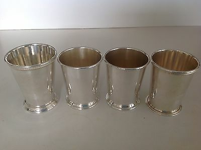 "Lot of 4 Mint Julep cups 8 oz, 4"" tall - not identical - Patrick Henry, Sheridan"