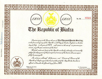 The Repubic of Biafra > Nigeria Africa history > 1969 bond certificate
