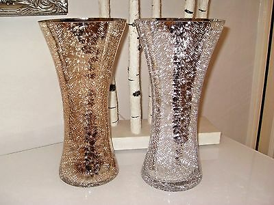 Large Silver Mercury Crackle Mirrored Glass Vase 39cm Tall