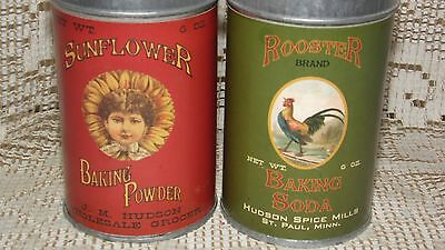 Collectible Reproduction Backing Soda/baking Powder Tins 1 Rooster Design