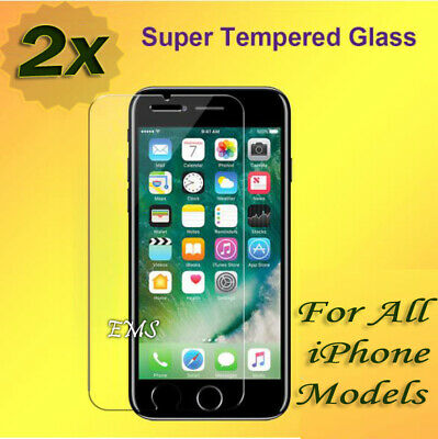 2X Tempered Glass Screen Protector Apple iPhone 6 6S Plus 7 8 Plus X XR XS MAX