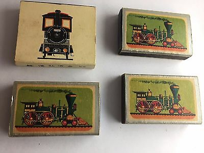 Lot of 4 vintage match boxes with trains, Ohio matches,